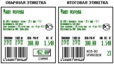 Образцы этикеток МАССА-К ТВ-S-Р3
