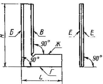 Схема угольника лекального плоского